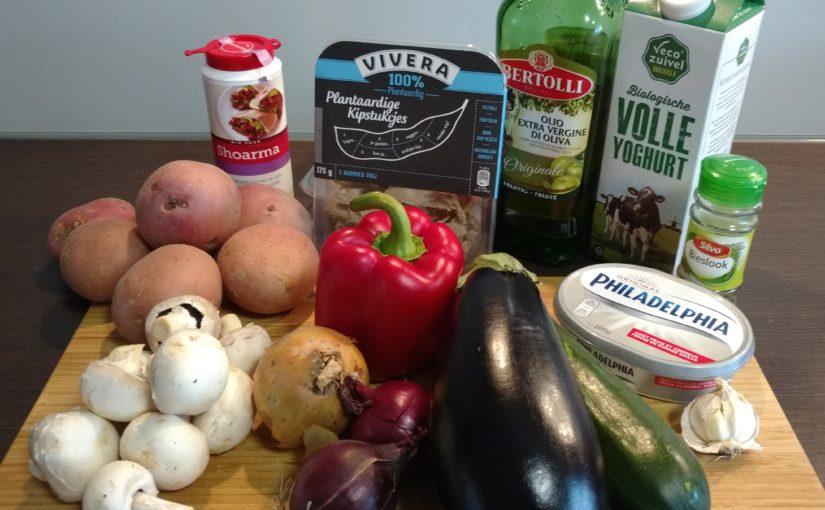 Groenteshoarma met gebakken aardappelblokjes