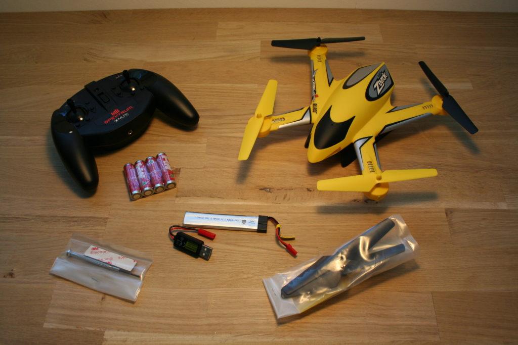 Alle onderdelen van de Blade Zeyrok op tafel uitgestald.