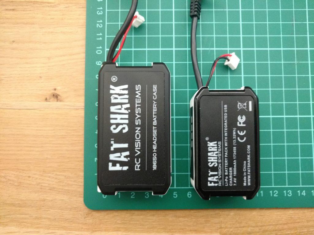 De battery case en de standaard Fat Shark Lipo naast elkaar.