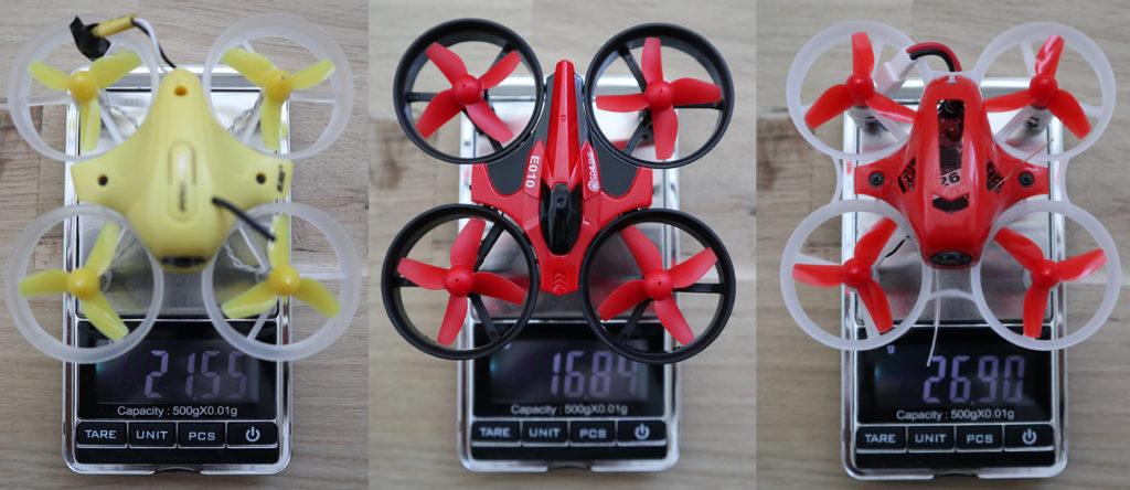 De gewichten van verschillende micro quads.