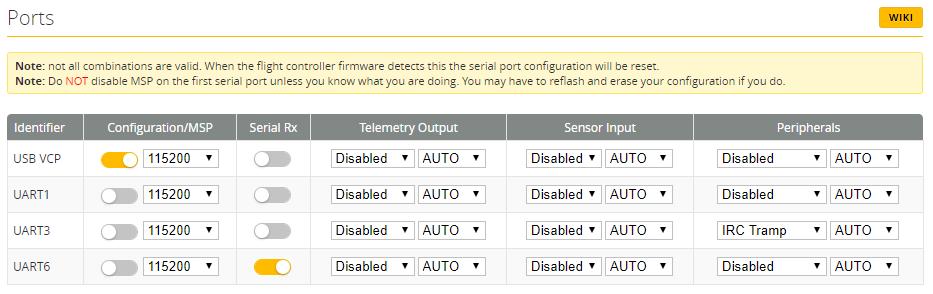Bij UART6 SerialRX aan zetten.
