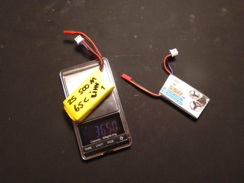 LiHV Turnigy Bolt 500mAh weegt 36,5 gram.