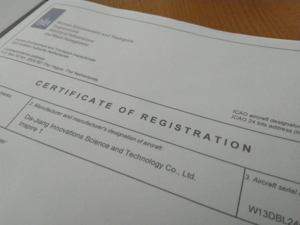 Certificate of registration DJI Inspire 1